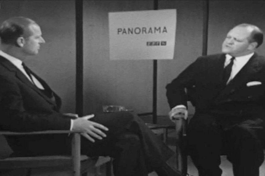 A black and white still of Prince Philip being interviewed on BBC show Panorama.