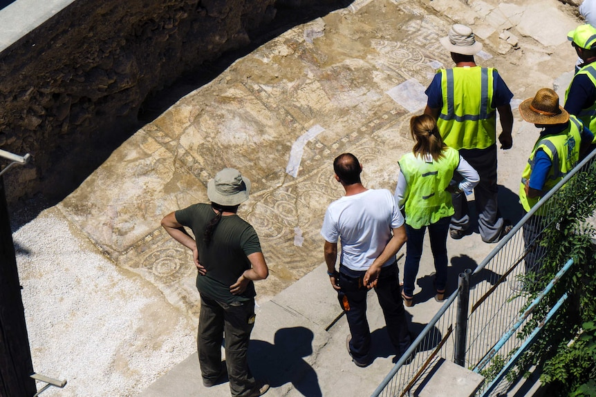 Archaeologists look at a rare Roman mosaic that has been uncovered in Cyprus