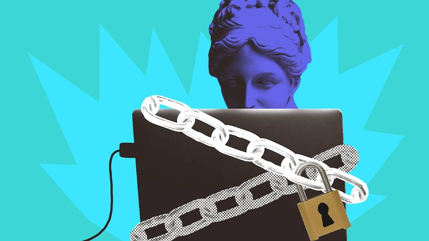 Illustration of woman looking at a laptop which is covered in a padlocked chain to depict the ethics of companies using big data