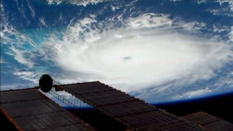 Hurricane Dorian is viewed from the International Space Station September 1, 2019 in a still image obtained from a video.
