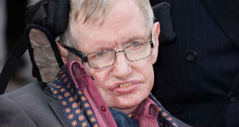 Close-up of Stephen Hawking looking past the camera.