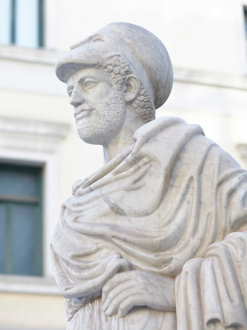 A white marble statue of Perciles, an influential Greek statesman during the golden age of Athens.