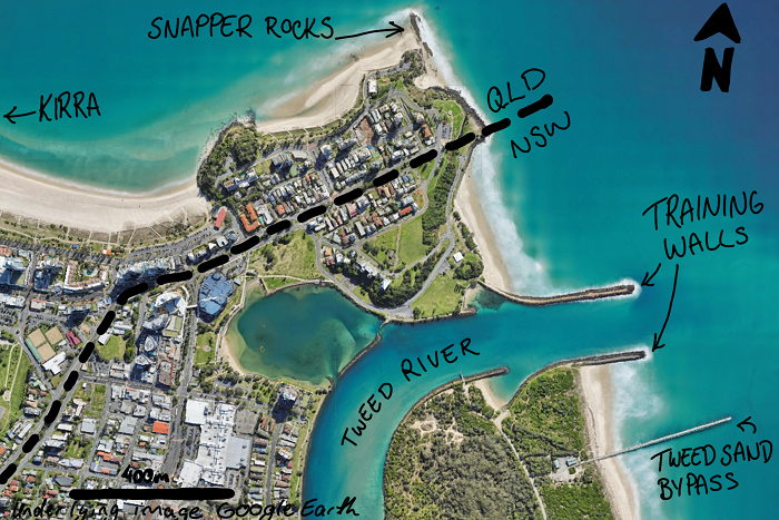The Tweed River mouth and it's training walls just a few hundred meters from the Queensland border.
