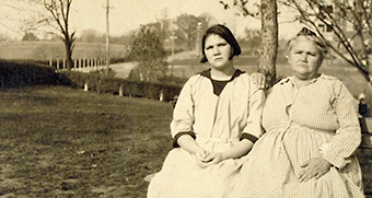 Old photograph of Carrie Buck with her mother Emma, subjects of the infamous U.S Supreme Court case on eugenic sterilisation.