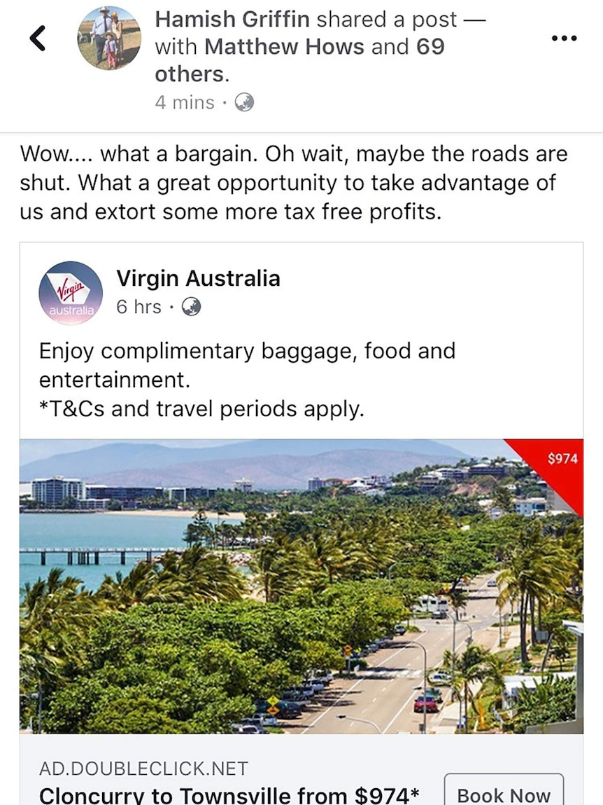 Reply by Hamish Griffin to Virgin Australia Facebook advertisement Cloncurry to Townsville flights