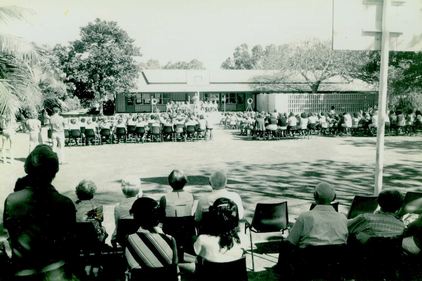 A historic image of Broome Primary School, the towns oldest school.