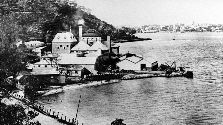A historic photo of the Swan Brewery building in Perth.