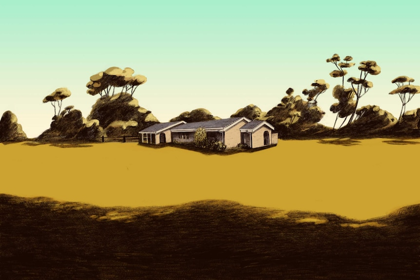 The Tregellas family home in Mallacoota before the fires, surrounded by dry grass.