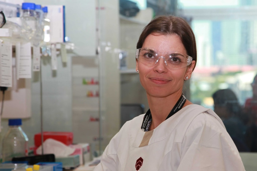 Dr Maria Ikonomopoulou sitting in the lab