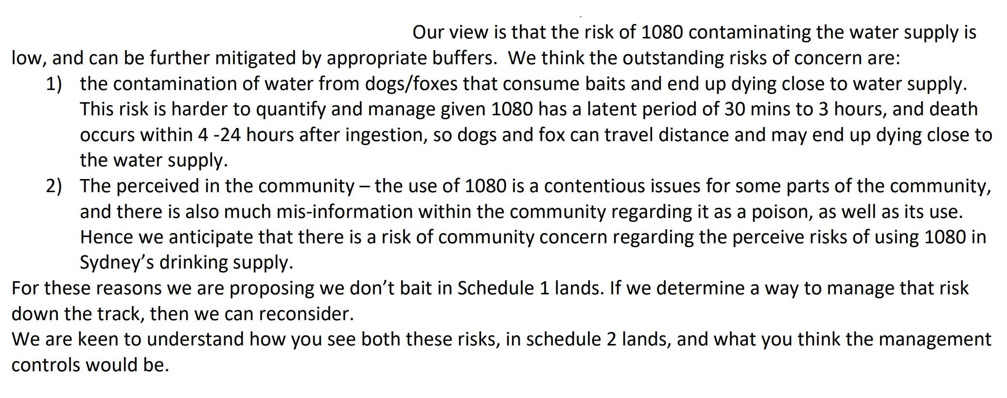 """A document excerpt that covers """"outstanding risks"""" about dingo baiting programs."""
