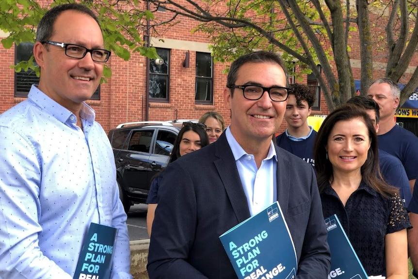 Liberal MPs Corey Wingard, Steven Marshall and Rachel Sanderson.
