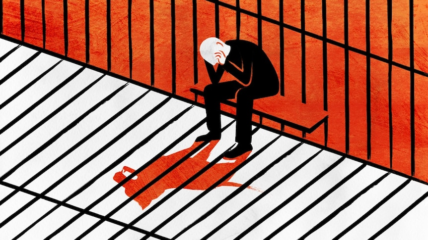 An illustration shows a man, head in hands, sitting in a prison cell