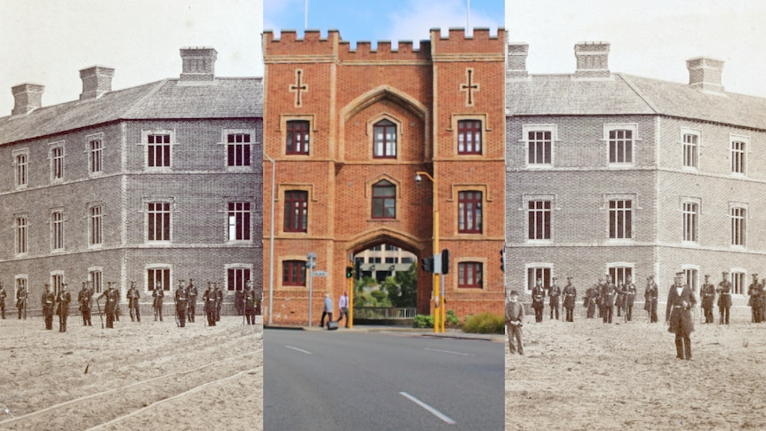A then and now image of the Pensioners Barracks in the 1860's compared to 2021.