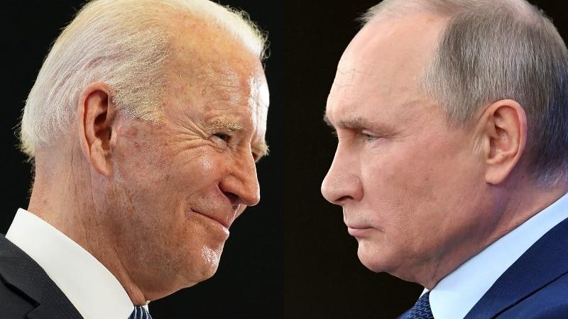 A composite image of Joe Biden and Vladimir Putin shot in profile