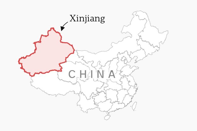 Map of Xinjiang province
