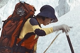 Junko Tabei climbs a mountain covered in snow.