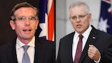 Side by side photos of Dom Perrottet and Scott Morrison, both in dark suits and ties