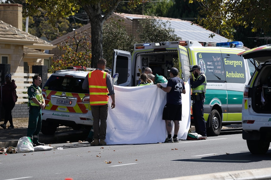 Emergency services at the scene where a pedestrian was hit by a truck.