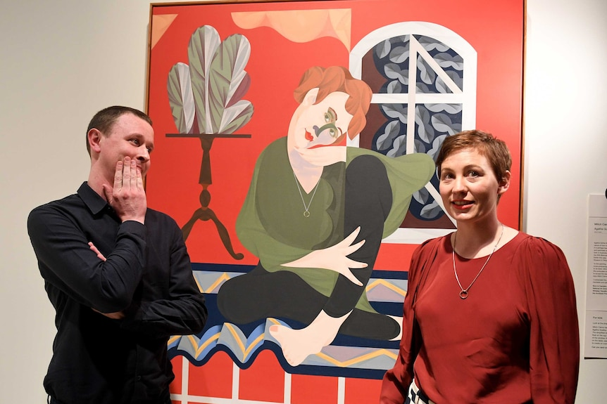 Mitch Cairns, Agatha Gothe-Snape and Archibald winning painting