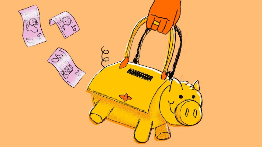 An illustration shows a hand holding a handbag that looks like a piggy bank to depict tips for saving money.