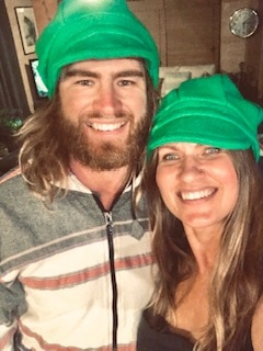 Kerry French and her son Comanche wear matching hats