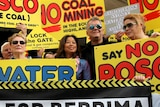Jimmy Barnes joins fellow protesters opposing the POSCO (Hume Coal) coal mine.