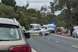 A car crash scene with two ambulances and police cars on the side of the road.