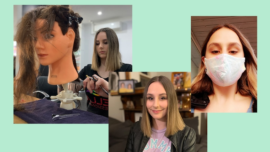 A collage of photos of a young woman in a mask and doing the hair of a mannequin
