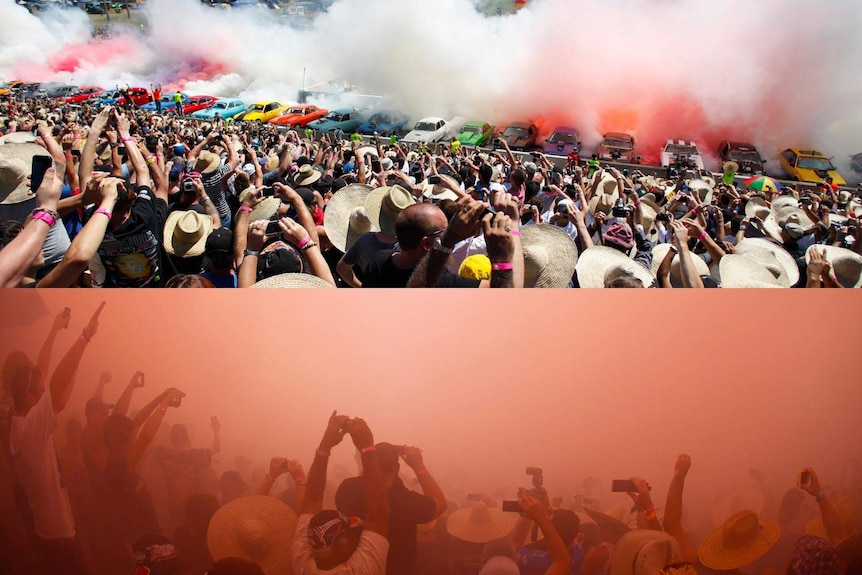 Before and after of world record burnout at the Summernats.