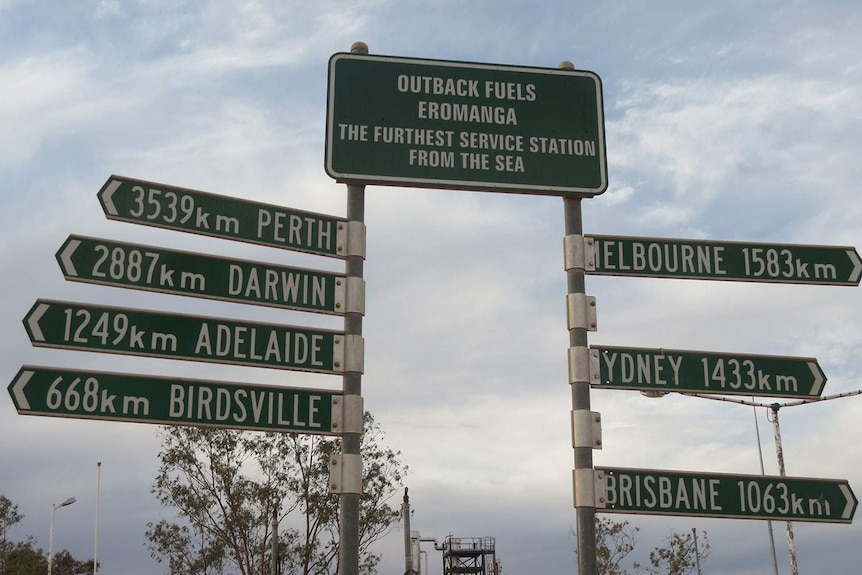 Eromanga road distance sign, south-west of Longreach in outback Queensland, in July 2014