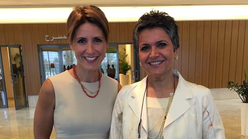Emma Alberici with Kuwait's only female MP, Safa Al Hashem.