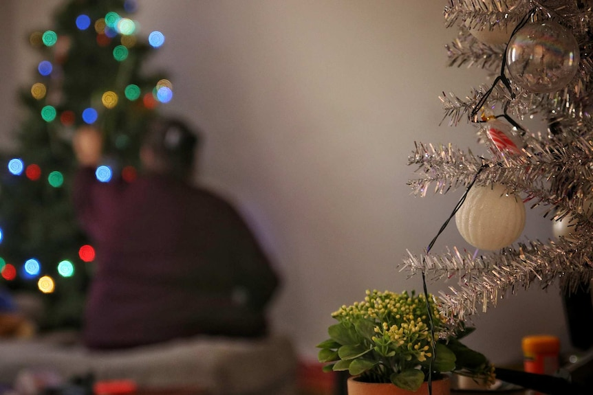 Christmas decorations on the right hand side of the picture with a woman and Christmas tree out of focus on the left.