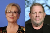 A composite image showing Meryl Streep and Harvey Weinstein.
