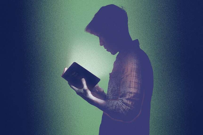 Illustration of a silhouetted man in checkered shirt looking down at small glowing book in his hands.