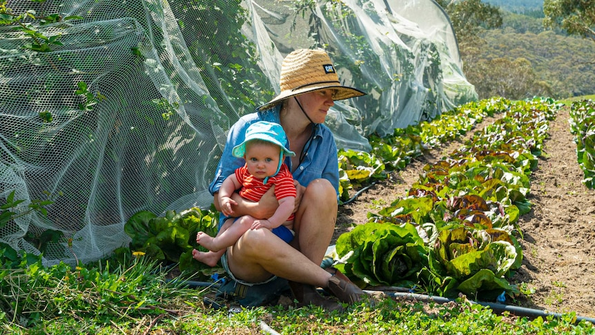 Organic farmer Emily Yarra sitting with her baby beside rows of lettuces growing.
