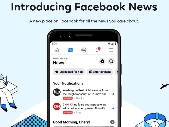 Facebook Newsoffers news content from approved publishers (who are paid).