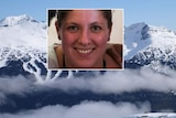 A composite image of a headshot of Alison Raspa above a ski run with a mountain in the background