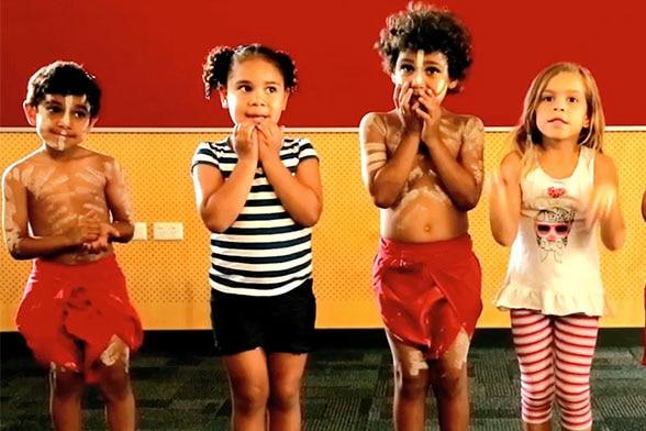 Indigenous students singing.