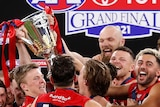 Melbourne Demons players smile as they lift the AFL premiership cup on stage at the grand final.