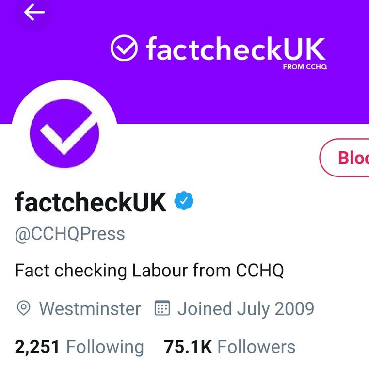 """A twitter account titled """"fact check UK"""" with a tick logo and a purple colour scheme."""