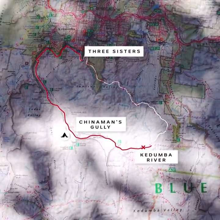 Map of Blue Mountains with labels Three Sisters, Chinaman's Gully campground, Kedumba River.