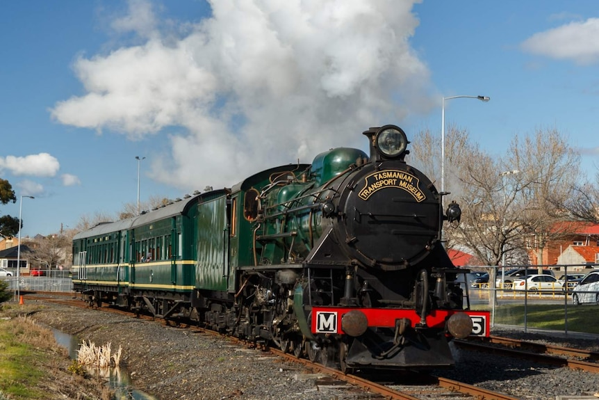 A wide shot of a dark green steam locomotive with steam above it and blue skies and trees behind.