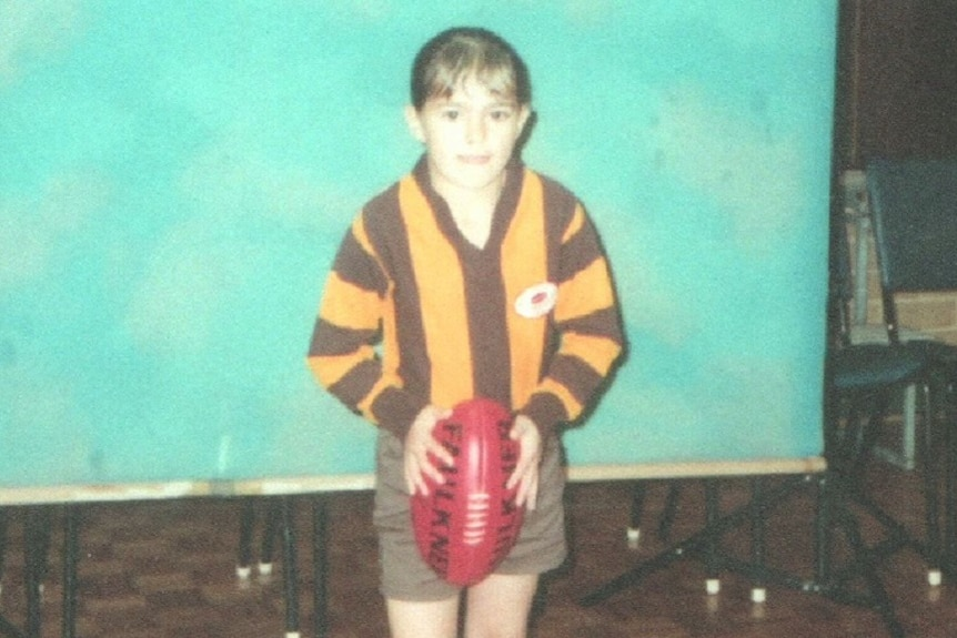 Moana Hope as a young Hawthorn supporter.