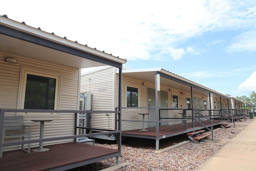 A row of portable cabins at the Howard Springs facility.