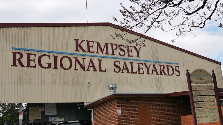 Large shed with maroon writing saying Kempsey Regional Saleyards.