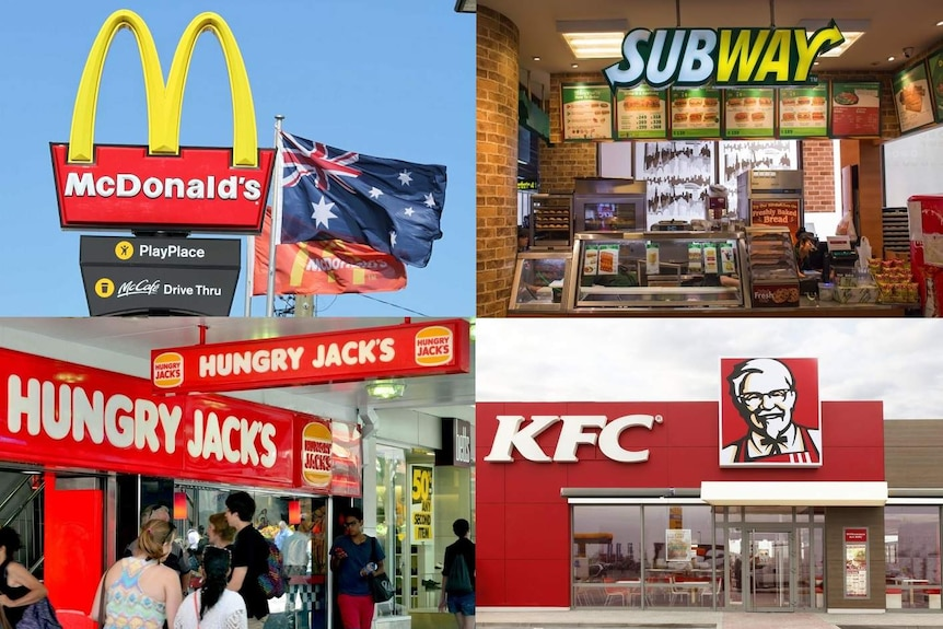 A composition picture of Hungry Jack's, Subway, KFC and McDonald's.