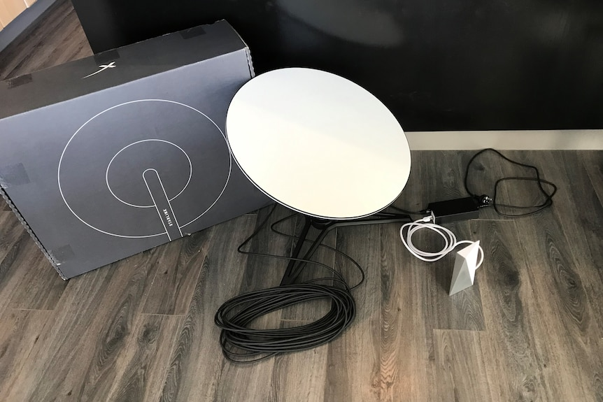 The Starlink box with cables and satellite dish