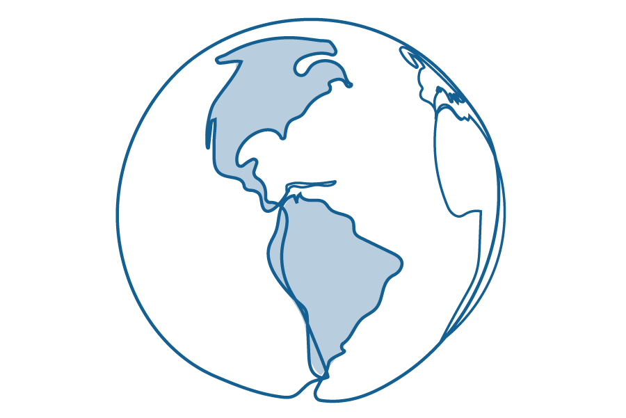 An illustration of the Earth, with North and South America in focus.
