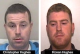 Christopher Hughes, left, is seen in a mugshot next to Ronan Hughes. Both have short hair and are seen against light backgrounds