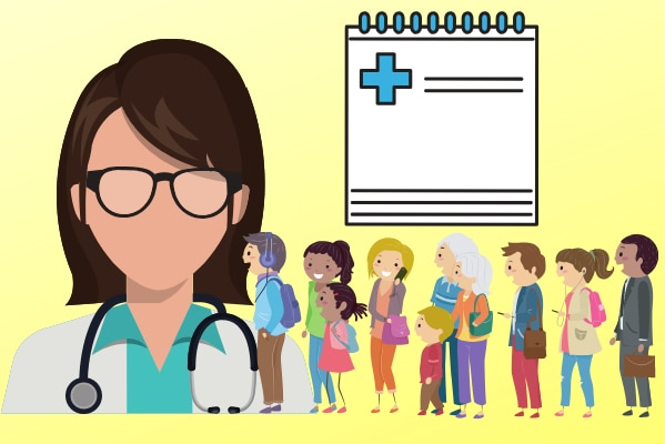 an illustration of a female doctor with a line of patients and a clipboard arranged as artwork